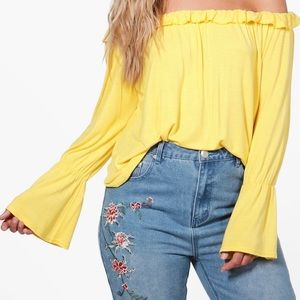 Boohoo Plus off the shoulder ruffle top